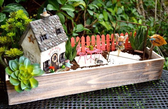 Fairy Garden Kit ~ Cottage Planter ~ Herb Garden Kit ~ Wood Planter ~ Cottage ~ 5 Faux Succulents Optional ~ Miniature Garden ~ Fairy ~ Gift