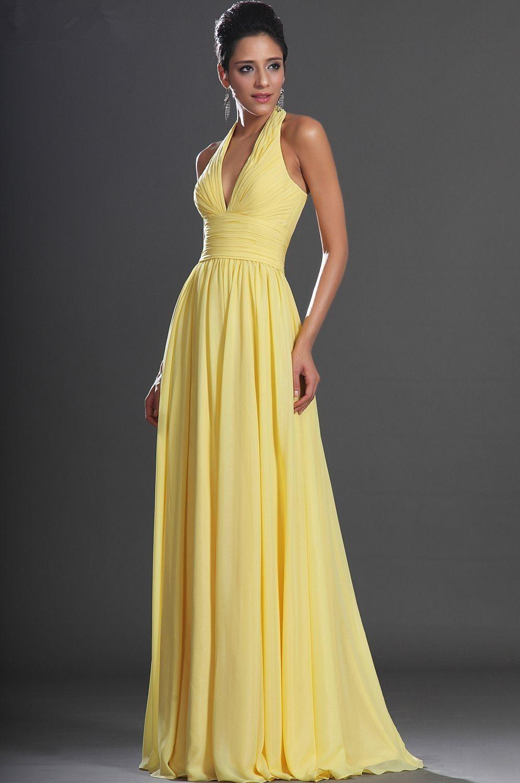 fb58b70196 Free-Shipping-Simple-Elegant-V-Neck-Halter-Yellow-Chiffon-Formal ...