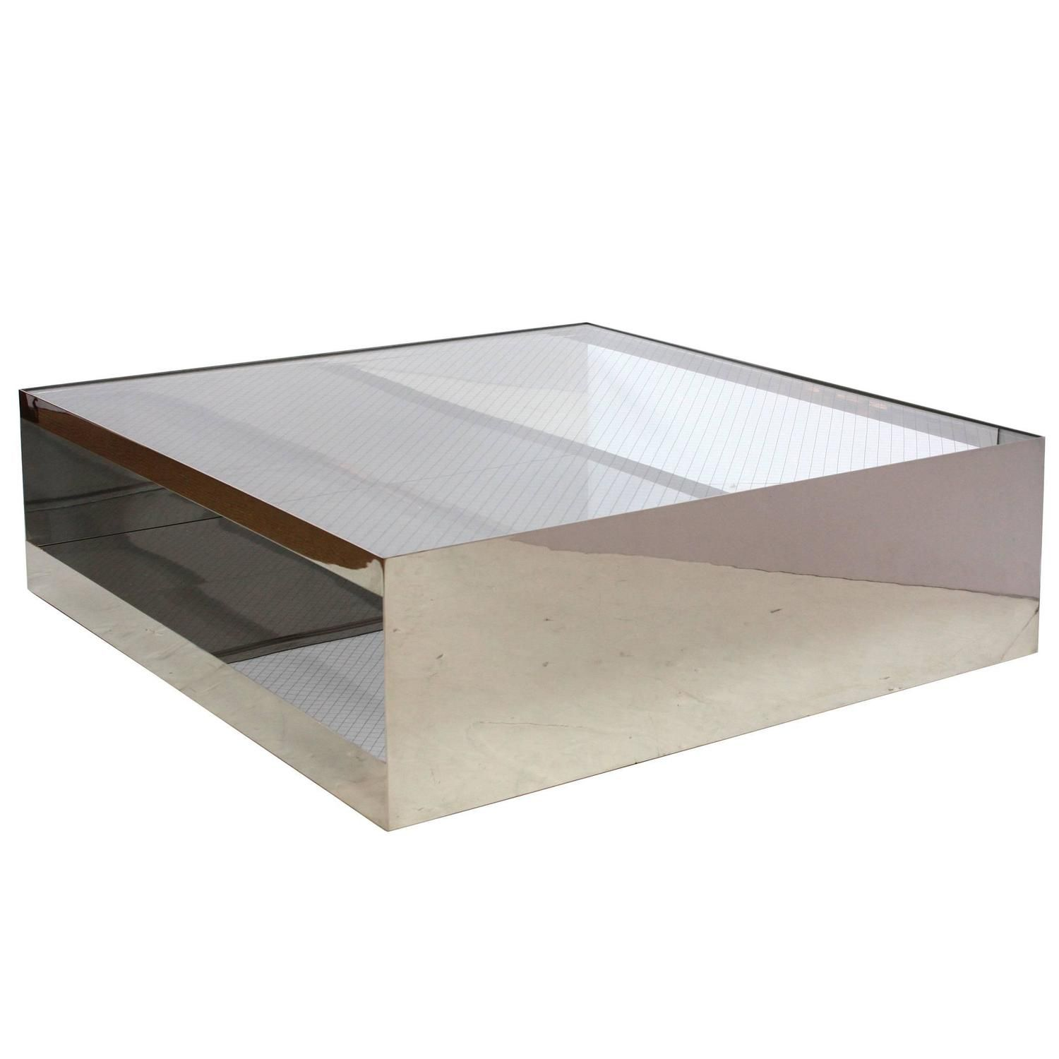 Joseph D Urso S Industrial Coffee Table Of Steel And Glass Knoll International Coffee Table Industrial Coffee Table Coffee Table Square [ 1500 x 1500 Pixel ]
