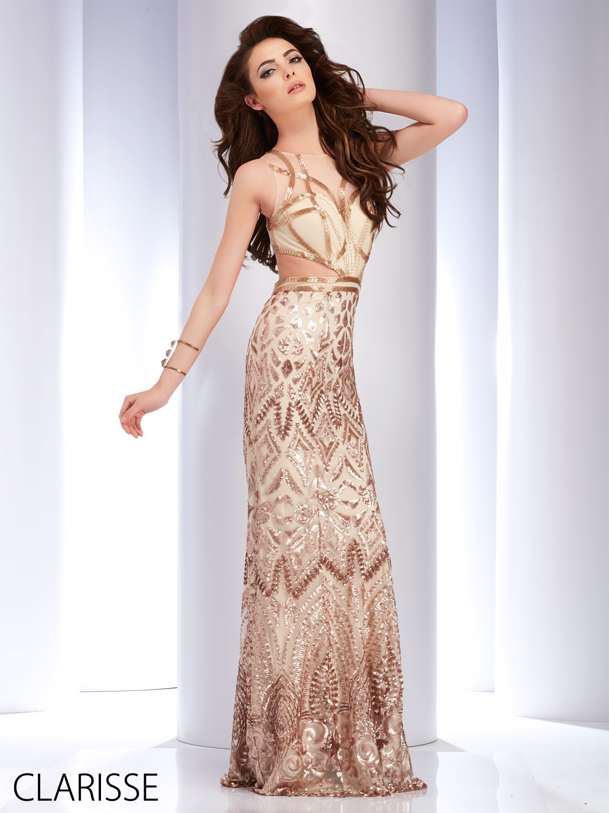 Clarisse Long Formfitting Gold and White Beaded 2016 Prom Dress ...
