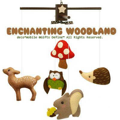 Musical Baby Mobile ENCHANTING WOODLAND (Artist Choice Colors) - Wool Felt Mobile for Modern Baby Nursery decor, Baby Crib, Kids Playroom. $145.00, via Etsy.
