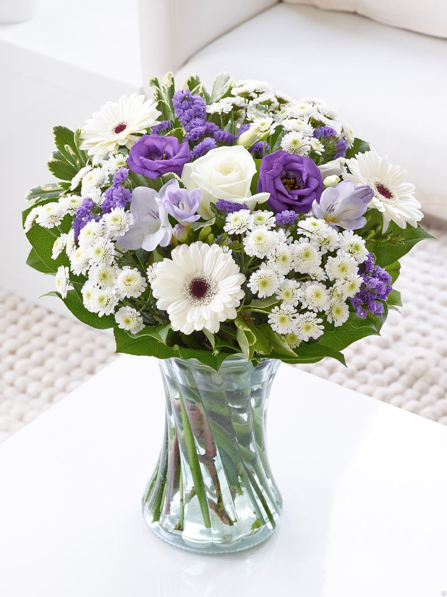 Blue flowers and wite flowers, perfect for a new baby boy