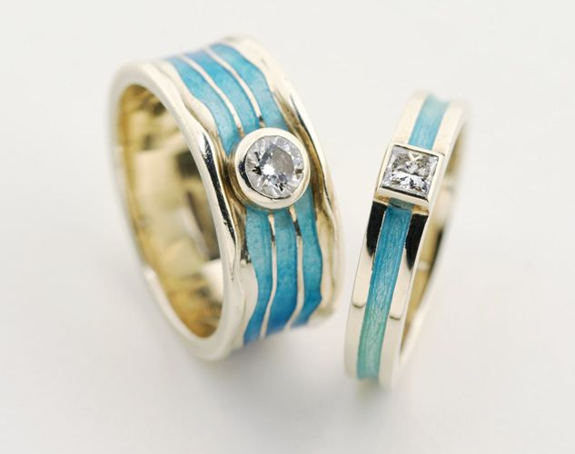 Beautiful Handmade Wedding Bands By Alchemia Jewellery St Andrews Scotland Turquoise Enamel And
