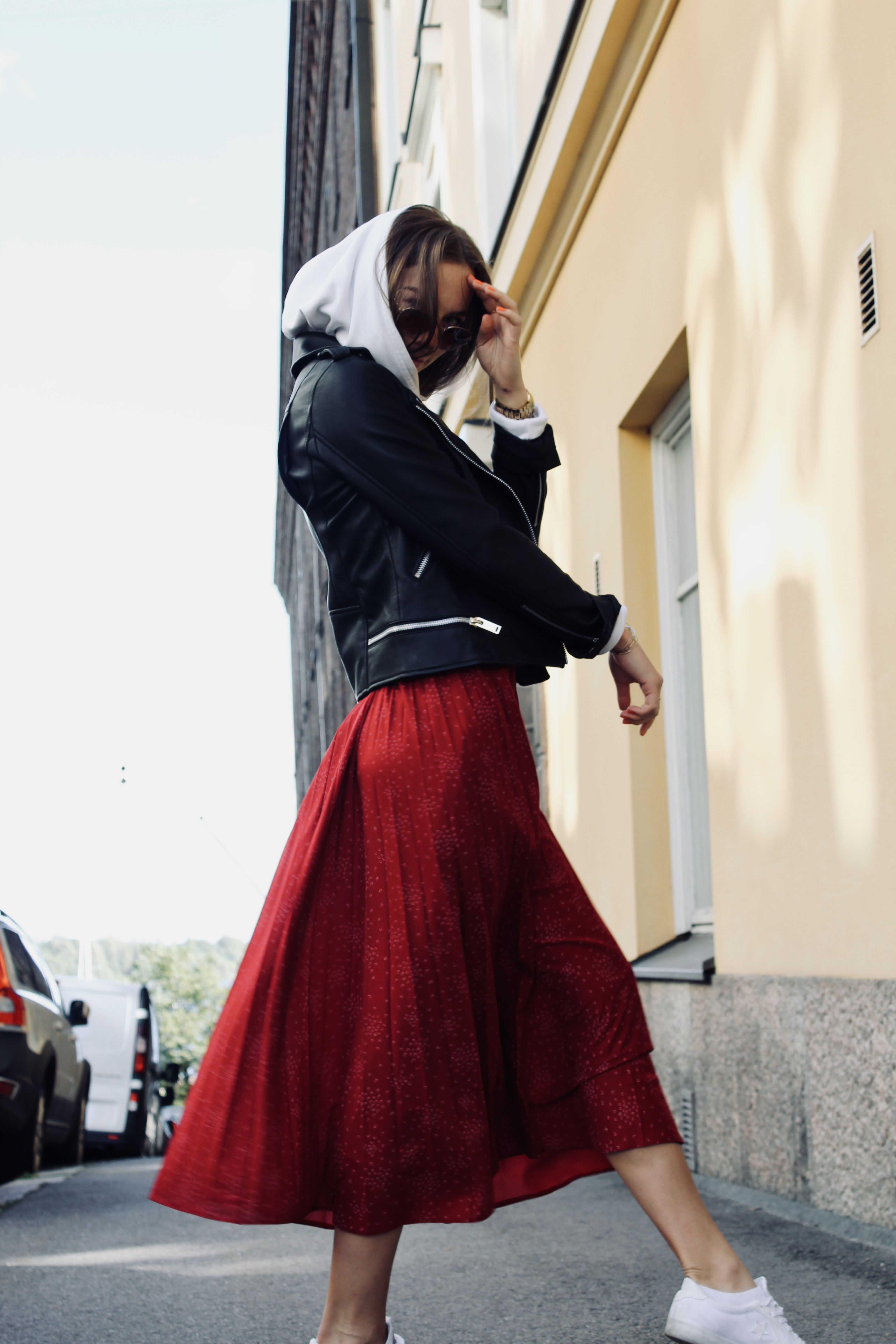 51bc36498 #skirt #red #longskirt #outfit #hoodie #autumn #fasion #cool #look #jacket  #spring #diy #redskirt