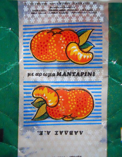 με άρωμα Μανταρίνι..  vintage greek candy label. Τangerine flavor..