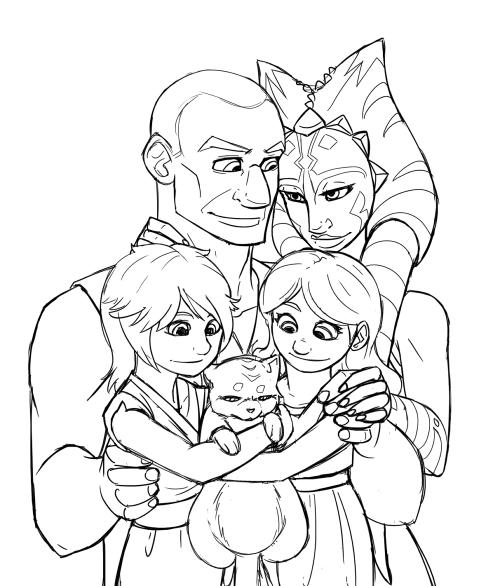 lledra-fanstuffs: Tano Family: Rex, Ahsoka, Luke, Leia, Jinxy