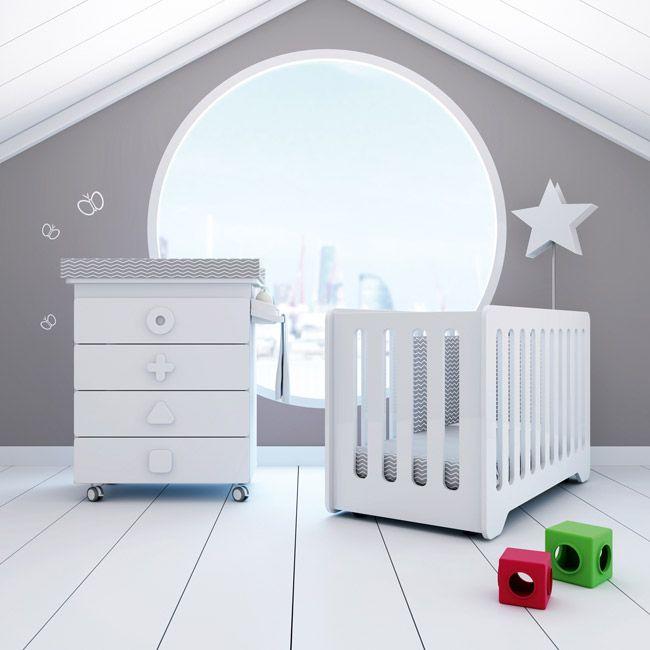 Cunas y bañeras para bebés en color blanco: cuna 60x120cm y mueble ...