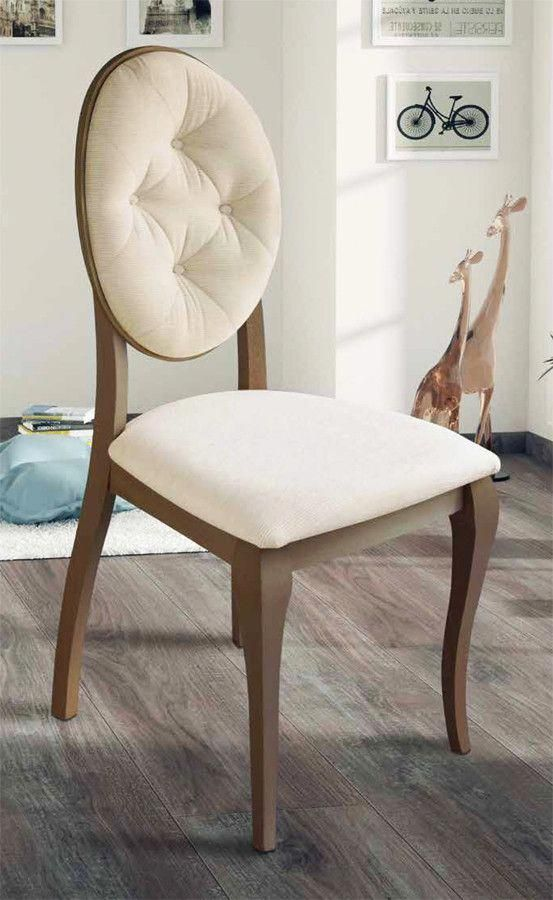 Silla clásica con respaldo ovalado tapizado y realizada en madera de ...