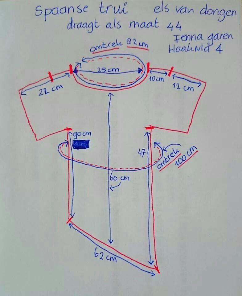 Patroonafmetingen spaanse trui