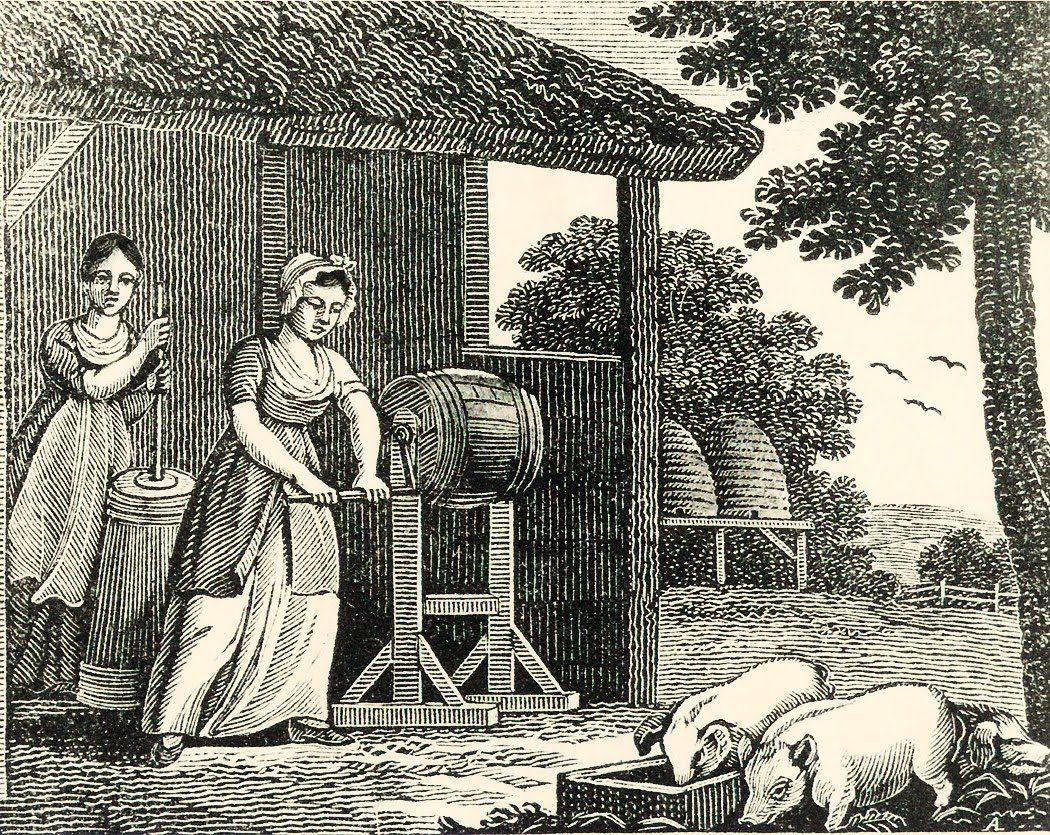 churning the butter still have grandma s churn very similar to this picture could have been considered art in the renaissance because the w is churning butter today we don t think of churning butter as art because