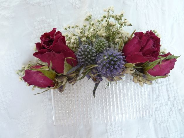 Getrocknete Blüten haarschmuck getrocknete blüten hochzeit bridal