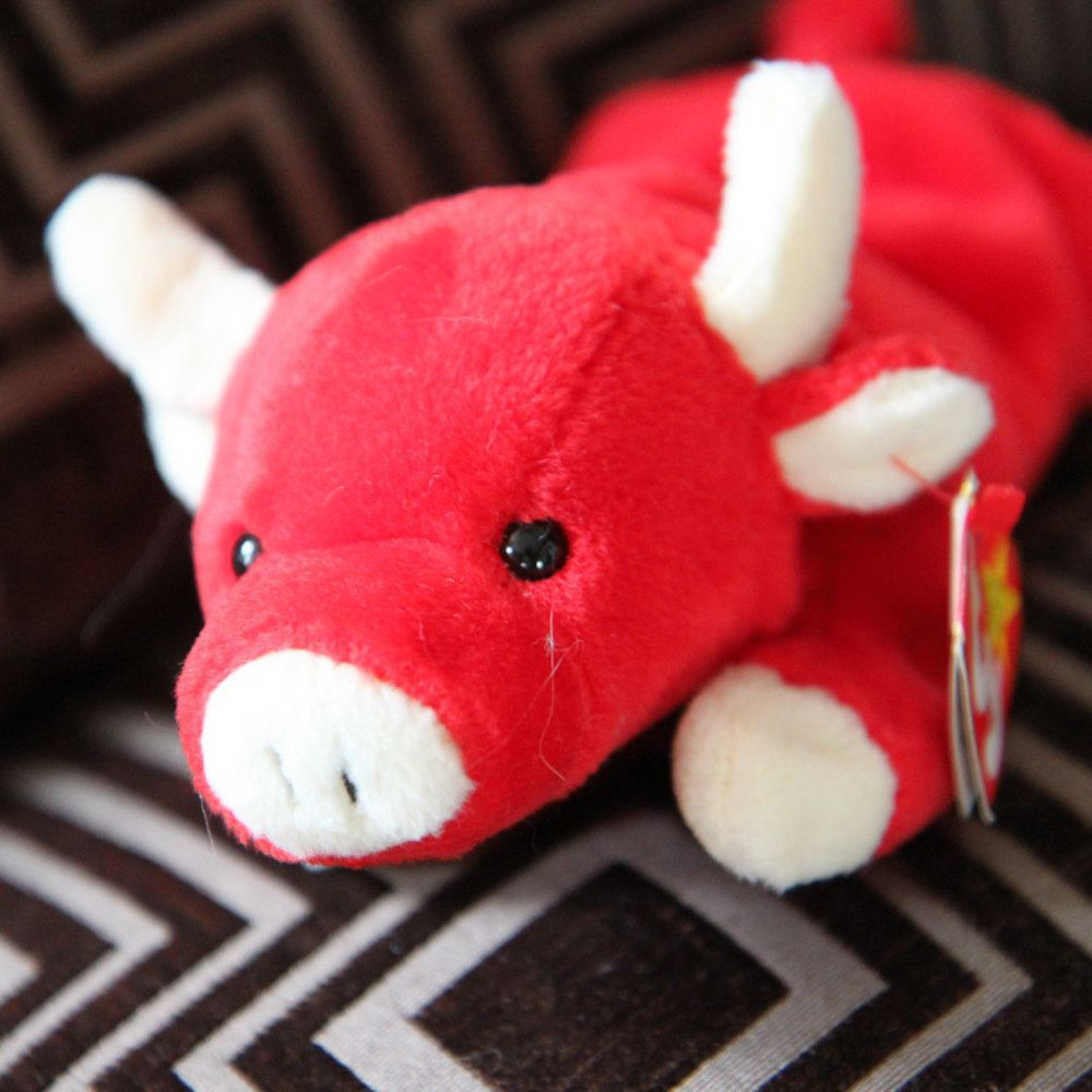 Original MINT TY Beanie Baby Snort the Bull - Retired - Rare -Style 4002-  PVC pellets - Tag Errors - No Stamp by ShandleMcKins on Etsy dfcc1077d4a