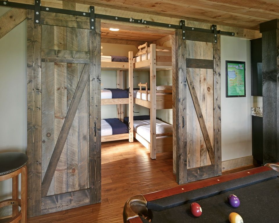 Rustic Kids Bedroom with Interior barn doors, Triple bunk beds ...