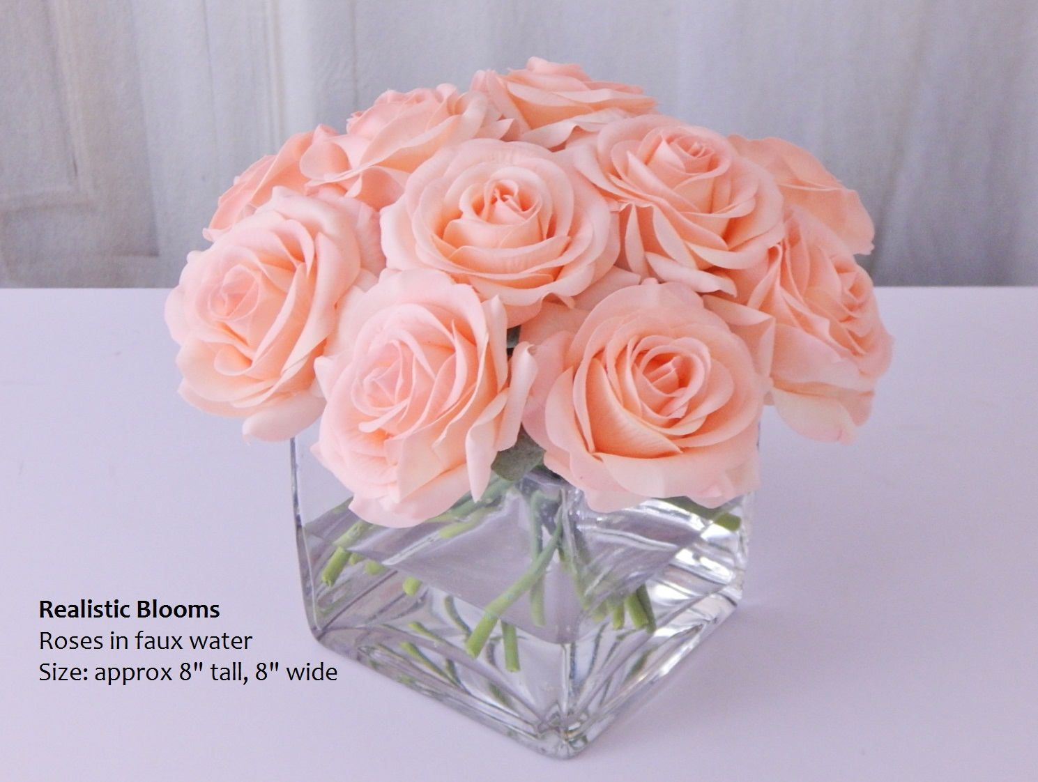 Pinkchampagne Roseroses Cubevase Faux Water Acrylicillusion