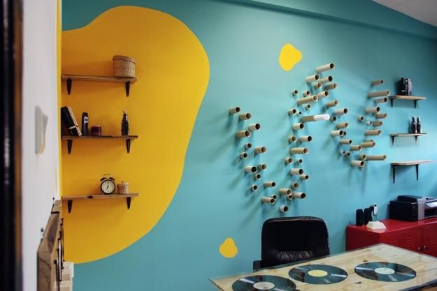 bright colours and creative wall decorations for modern workplace