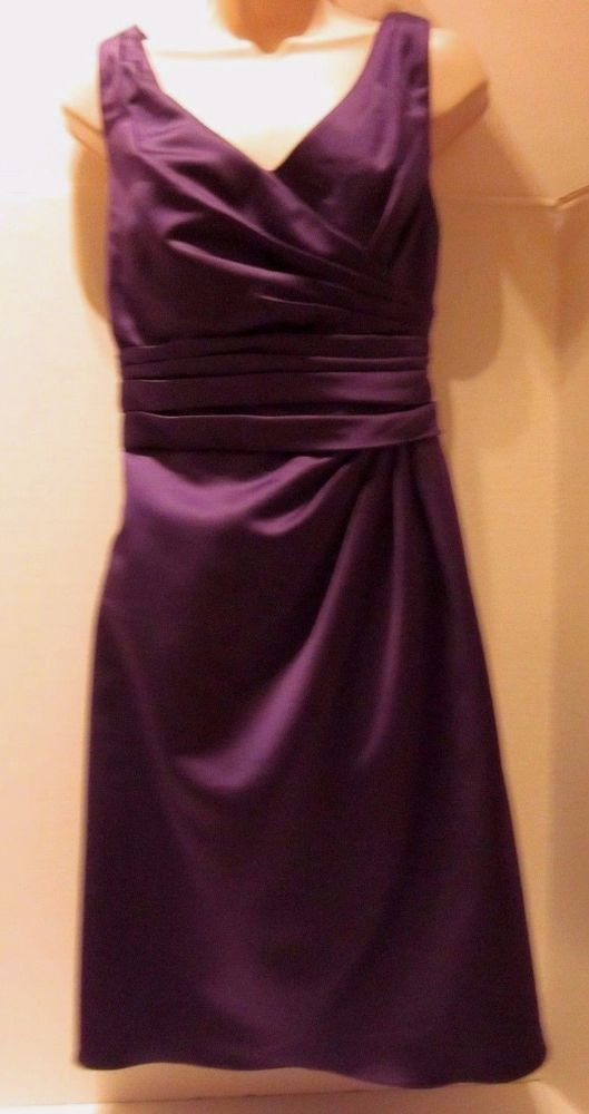 Davids Bridal Purple Dress Sz 10 F14823 Satin A Line Ruching Plum     Davids Bridal Purple Dress Sz 10 F14823 Satin A Line Ruching Plum Bridesmaid