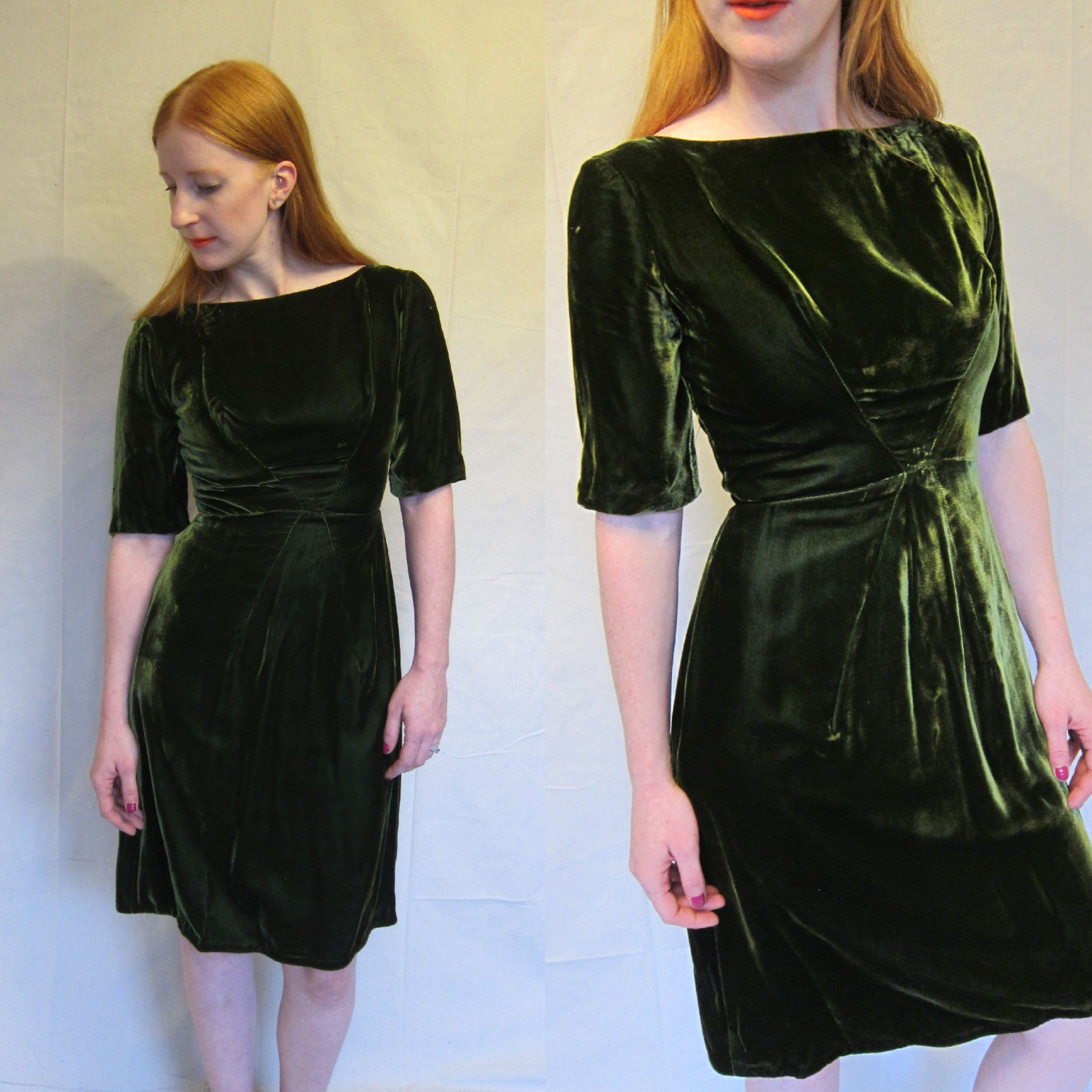 1950s Dress / 50s Moss Green Velvet Dress / Short Sleeved