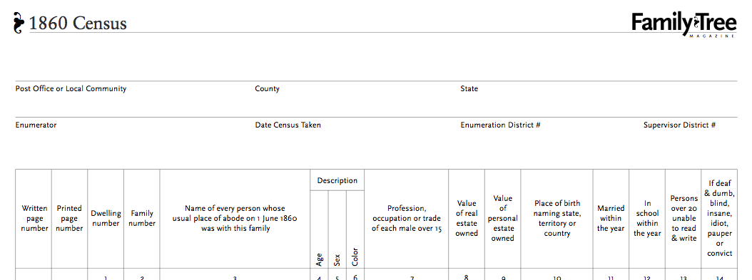 Download This 1860 Census Worksheet