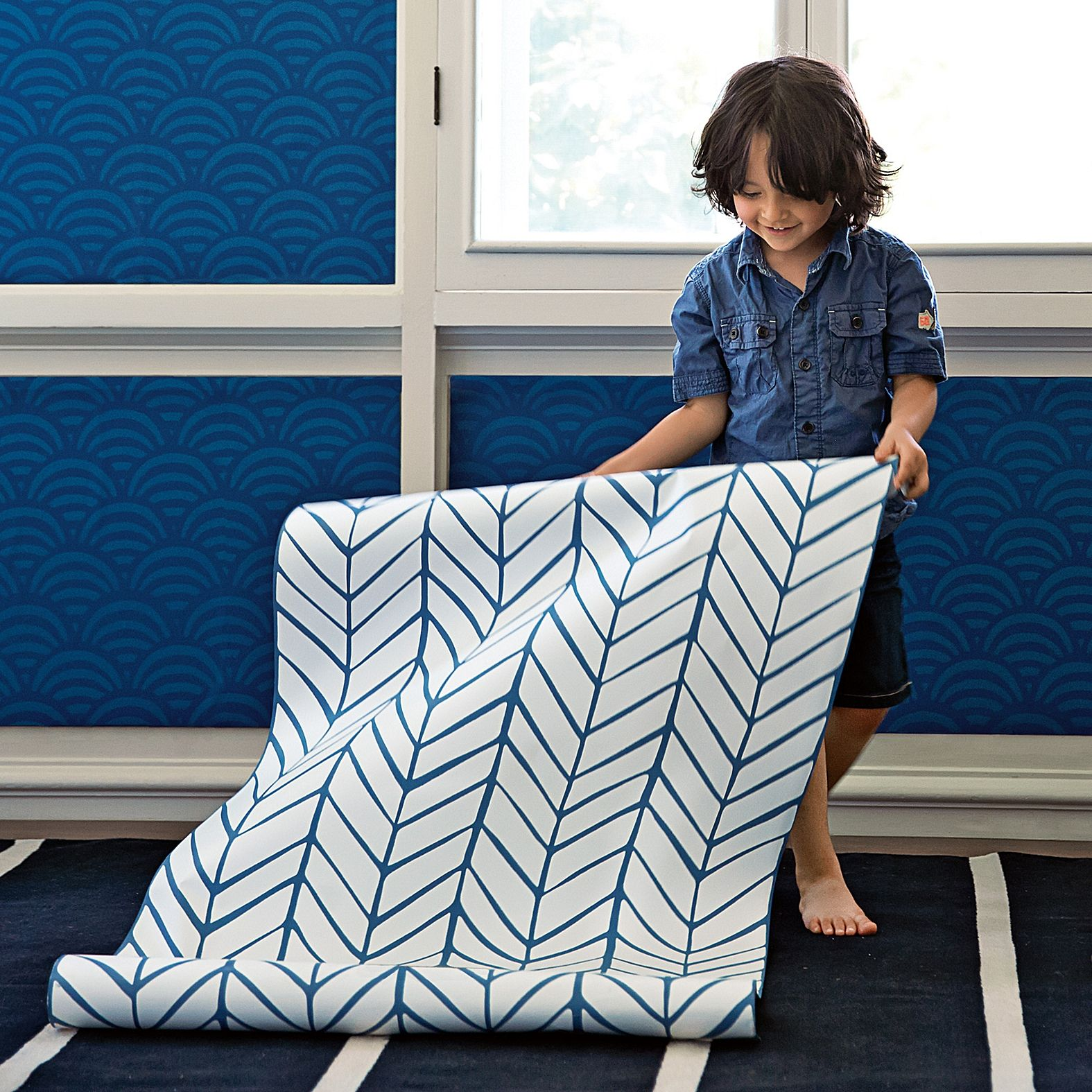 library Feather Wallpaper Denim Serena & Lily D