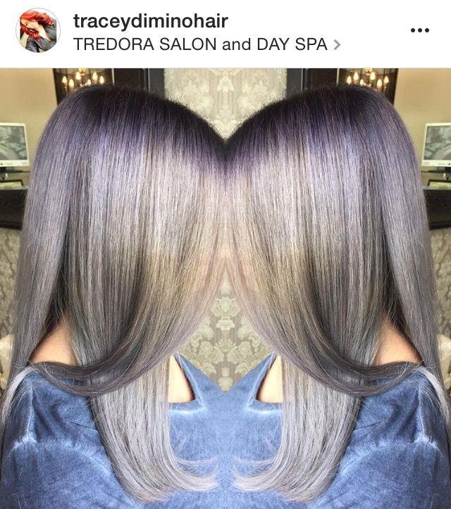 Silver Grey hair color, silver color melt, granny hair, hair color ...