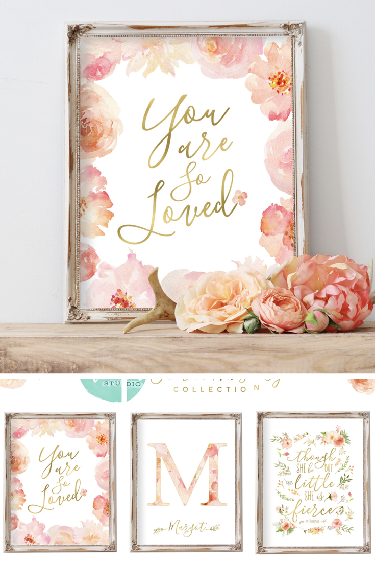 Nursery Wall Art Baby Pink You Are So Loved Watercolor Flowers Fl Blush Rose C Peach Affiliate