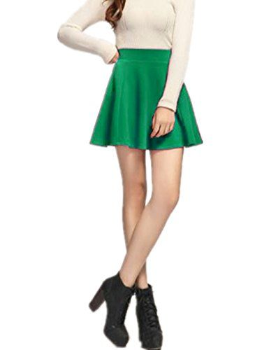 5630dc493e915 V28® Women Girls Stretch Waist Flared Plain Pleated Casual Mini Skater Skirt  (Stretch Waist Plain Pleated Skirt Green)