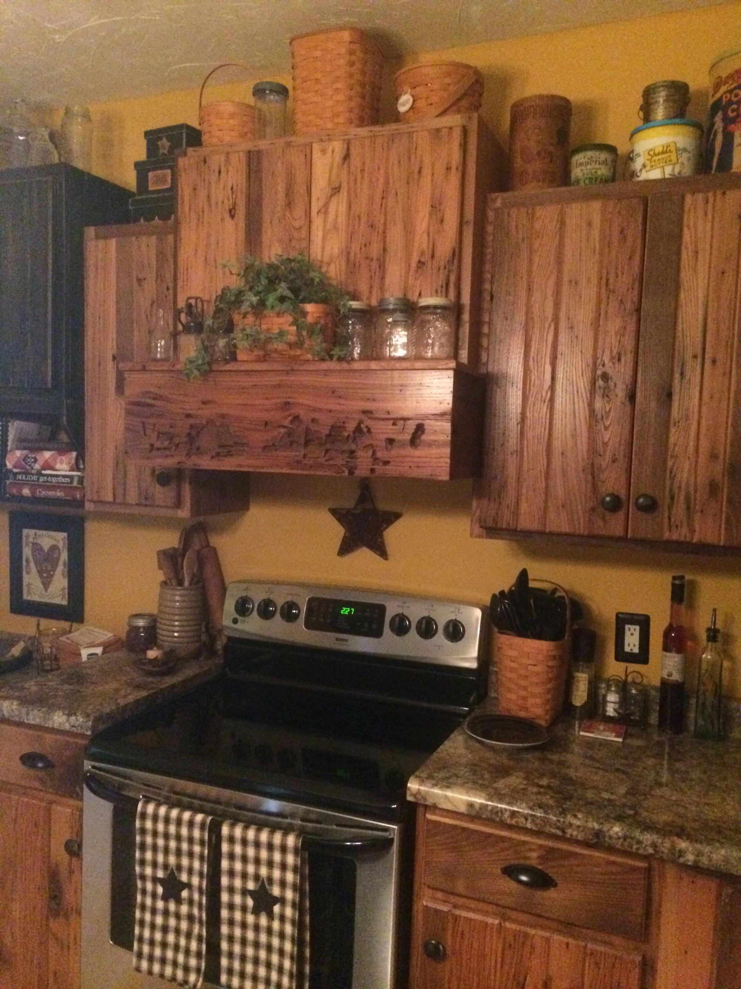 Wormy Chestnut Kitchen Designed By Me Worth All The Work Primitivekitchen Primitive Kitchen Decor Primitive Kitchen Cabinets Primitive Kitchen