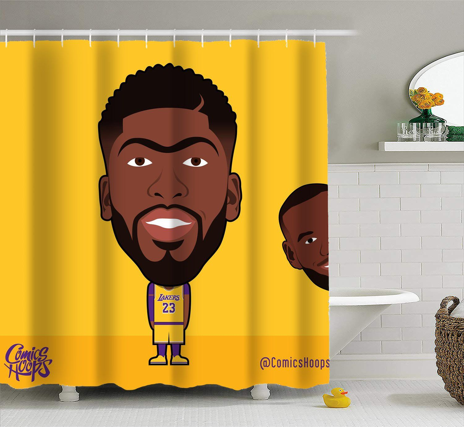 Anthony Davis Cartoon Shower Curtain For Bathroom With Hooks Extra