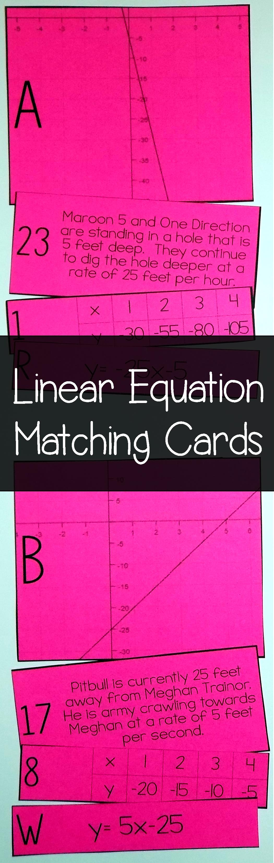 Linear equation card match slope intercept form word problems this linear equation matching activity looks like a fun idea for my grade algebra students i love how they have to match graphs equations tables falaconquin
