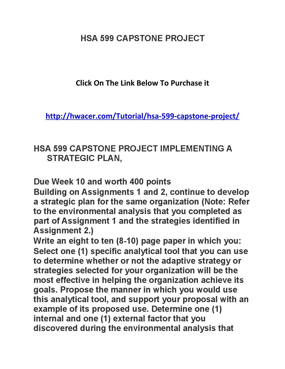 hsa 599 capstone project implementing a strategic plan