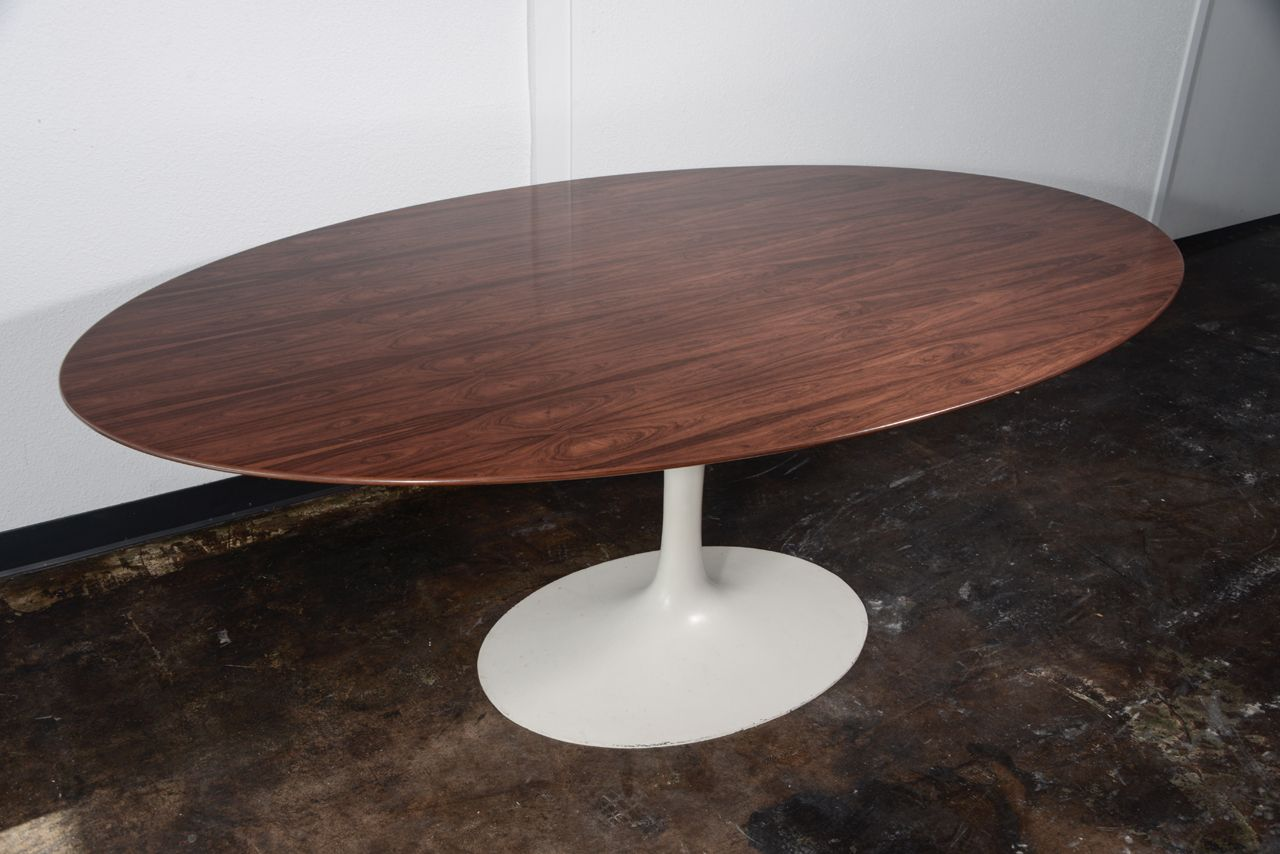 furniture awesome knoll saarinen oval tulip dining table design with having walnut wood laminate top integrate