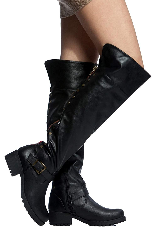 Knee Boots Folding Cuff Back Zipper