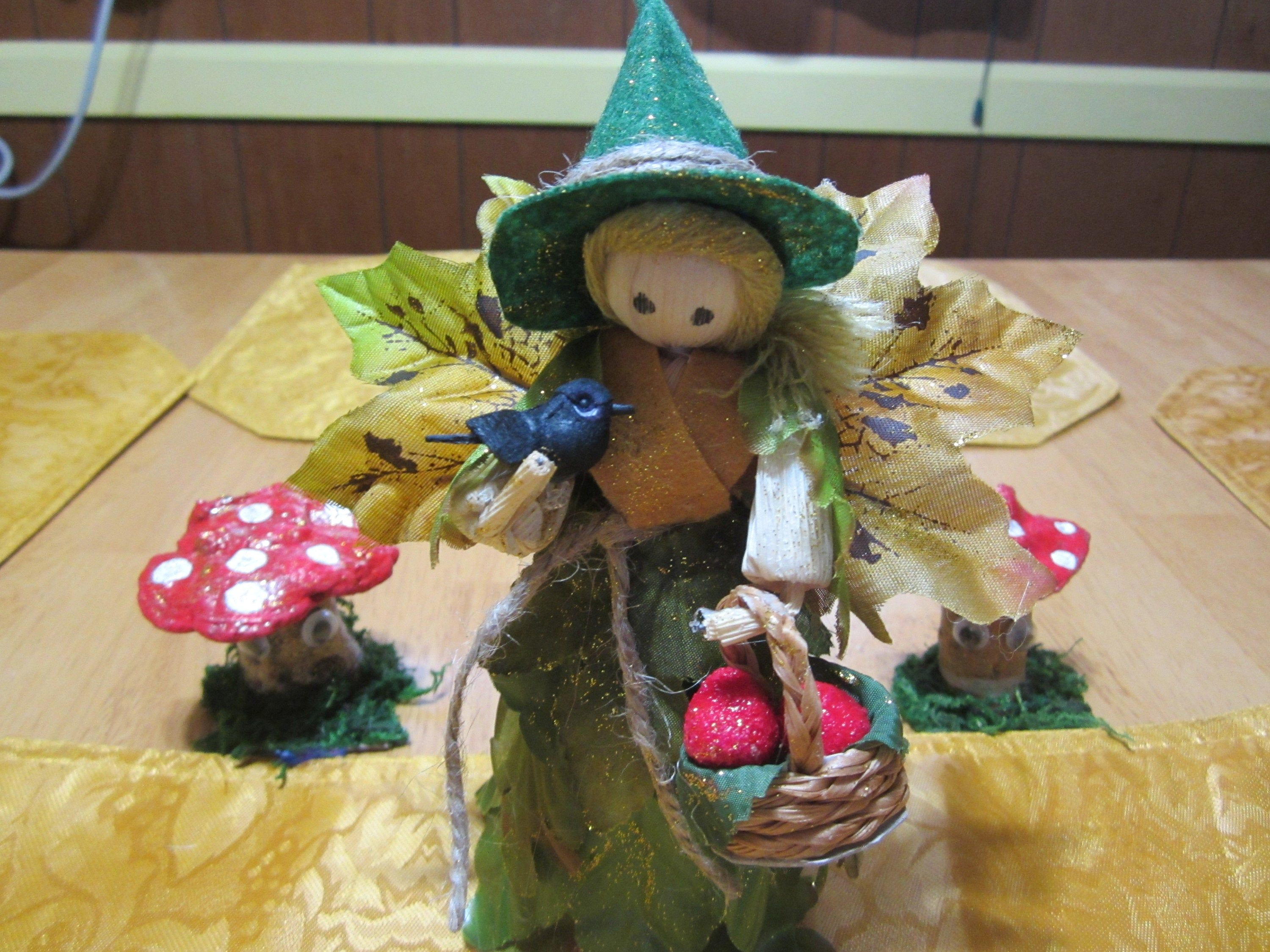 Forest Witch Corn Doll With Black Bird Kitchen