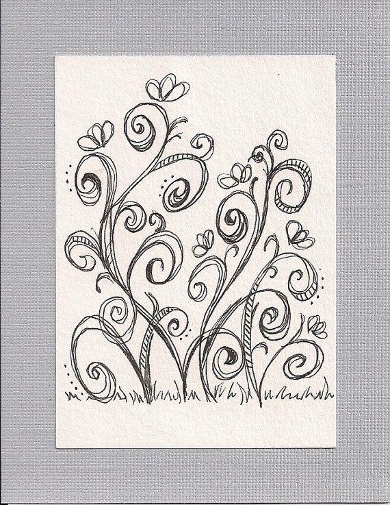ACEO - Swirling Vines | Mano alzada, Dibu y Doodle