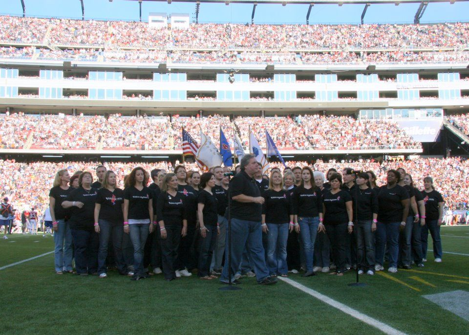 OMG!  We sand the Natl Anthem at the Patriots game! :-D
