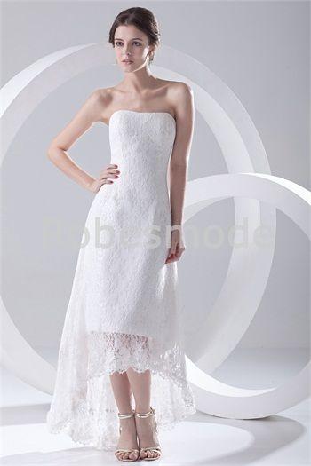 Robe de mariée col en cœur doux asymétrique en satin/dentelle dos zippé