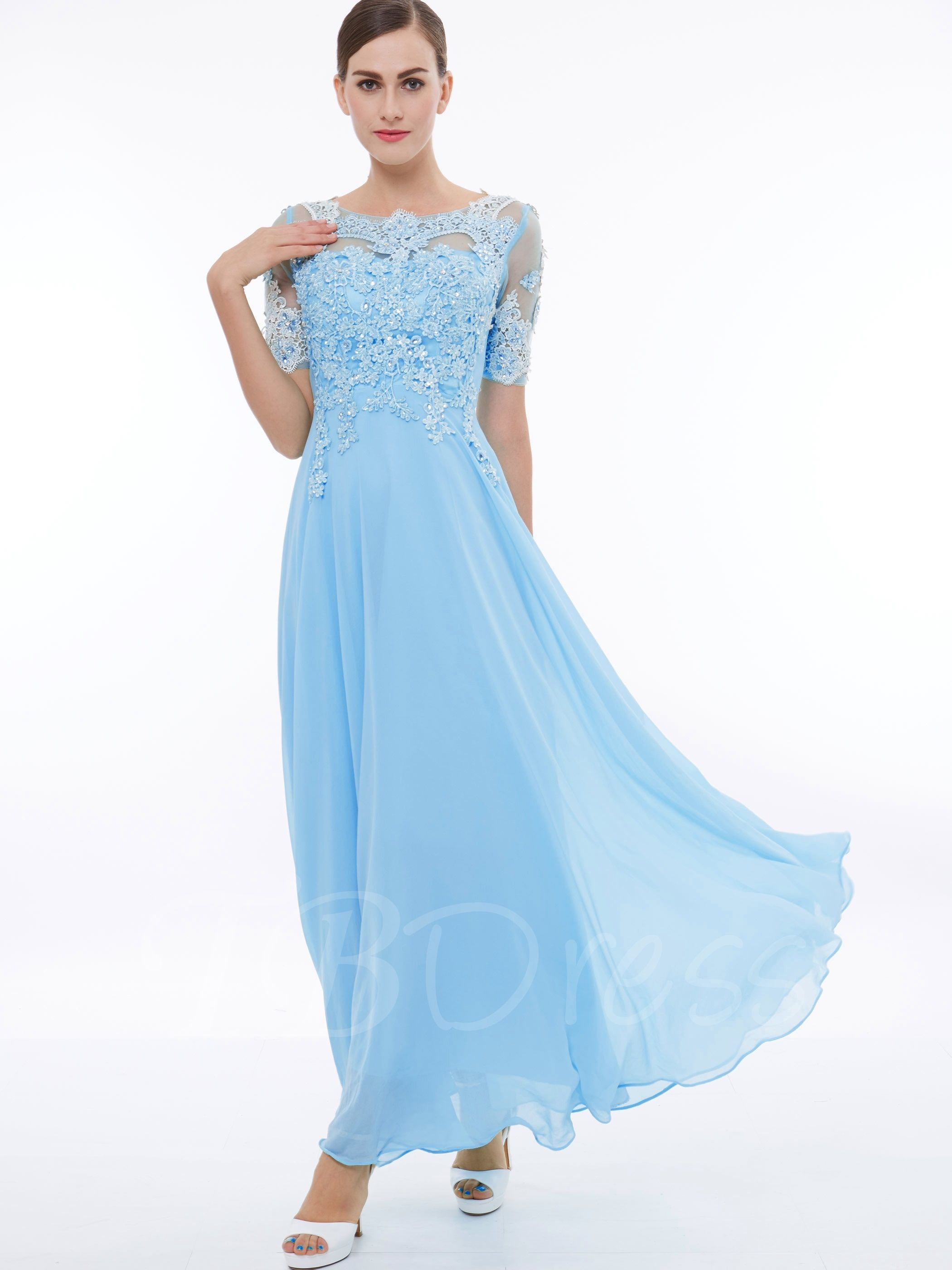 Short sleeves appliques beading long prom dress long prom dresses