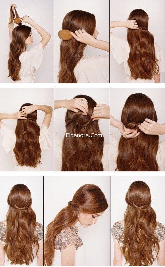 طرق تسريحات شعر بالصور خطوات تسريحات شعر بسيطة تسريحات شعر طويل جمال رشاقة عالم المرأة بنوته كافيه Hair Styles Romantic Hairstyles Hair Beauty