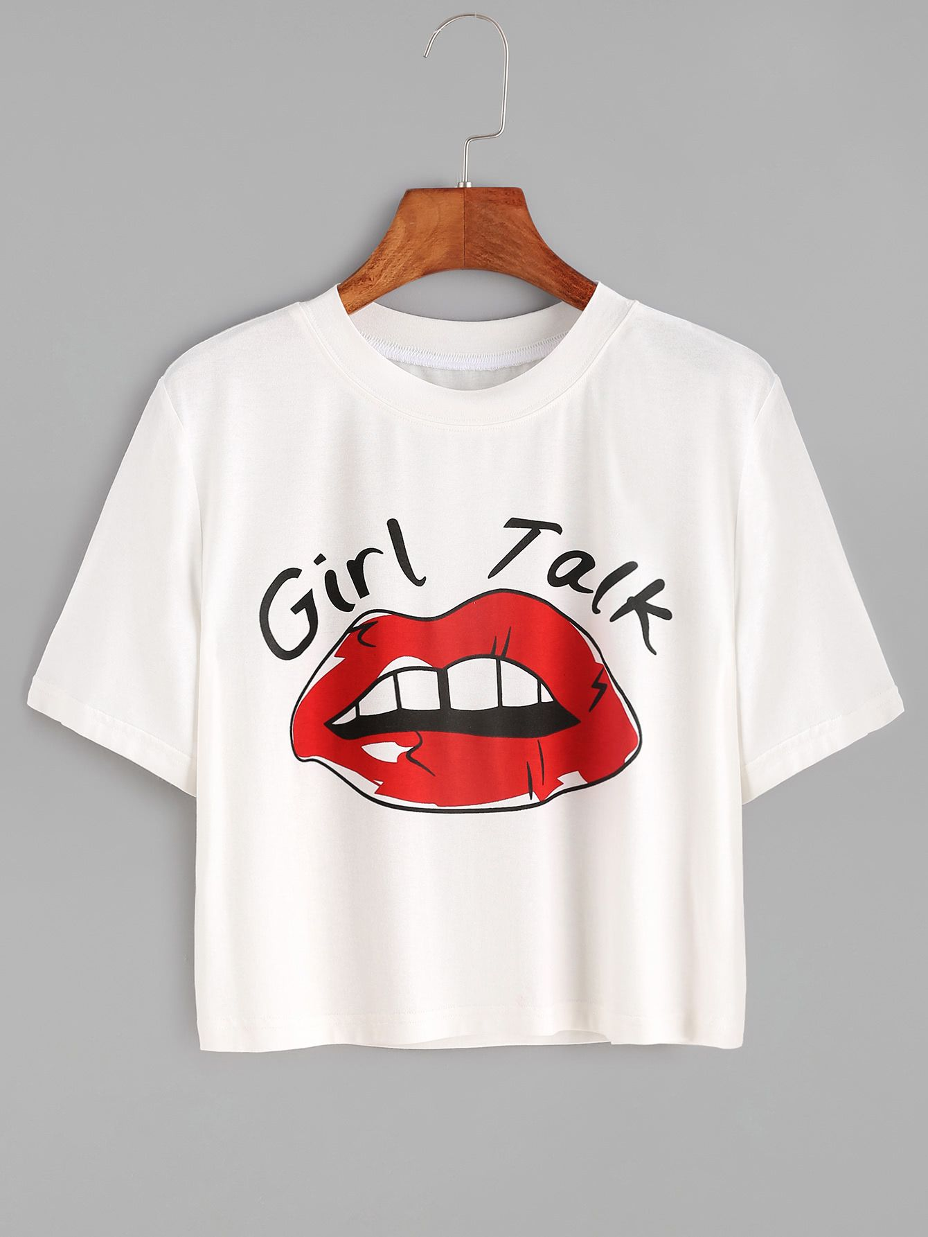White Red Lip Print Crop T Shirt Belly Shirts Cool Outfits