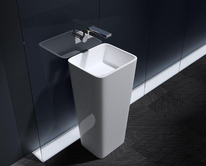 Square Bathroom Basin Sink Free Standing Pedestal Stone White