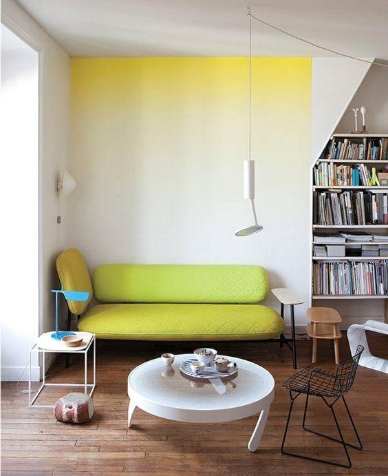 Wohnzimmer Wandgestaltung Mit Farbe-Ombre Wand Streichen