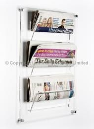 Newspaper Wall Rack Literature Dispenser The Mounted Will Hold 3 Papers Neatly Ideal For Public Areas Where Complimentary Newspapers
