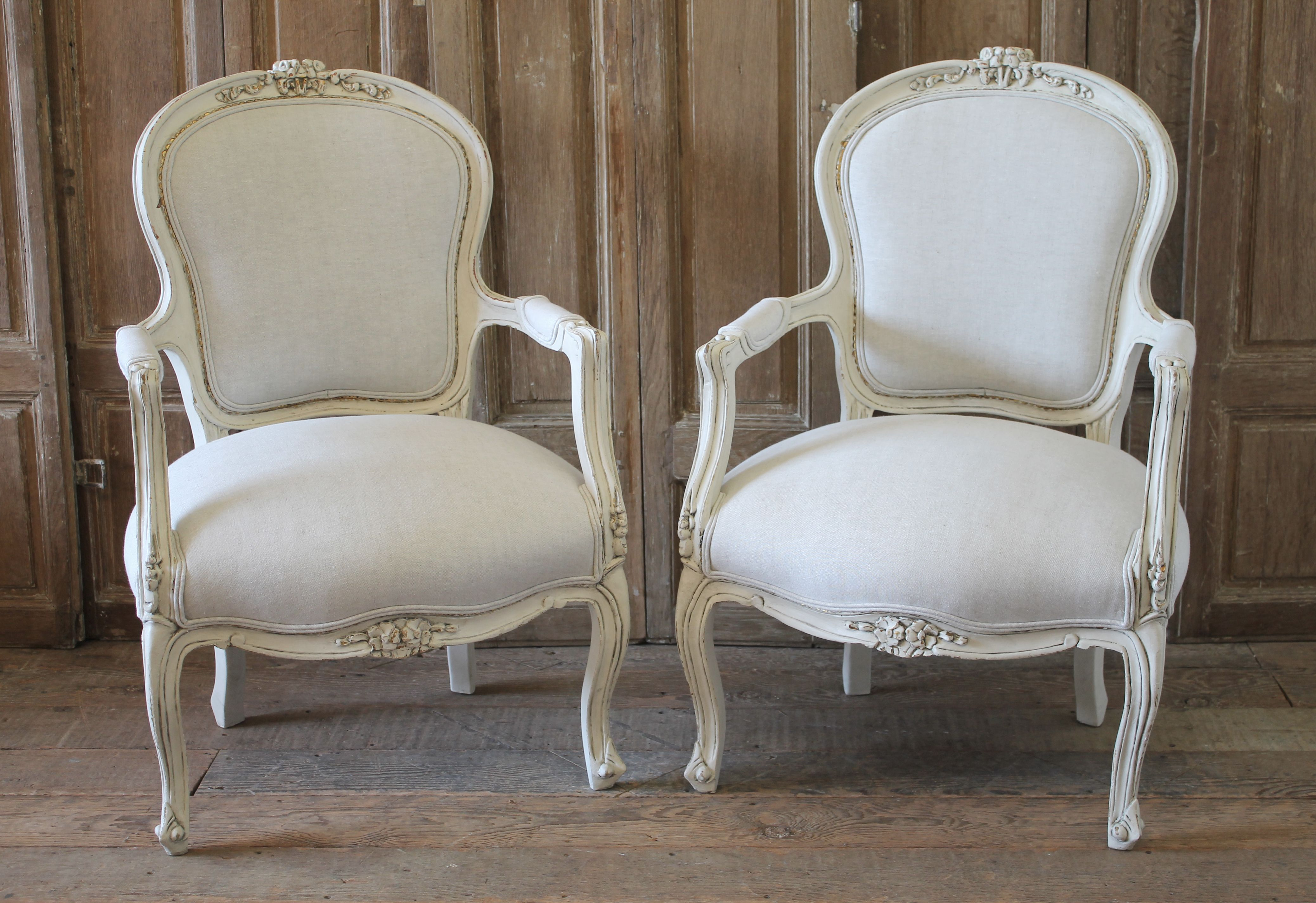 20th Century Pair of Painted and Upholstered Louis XV ...