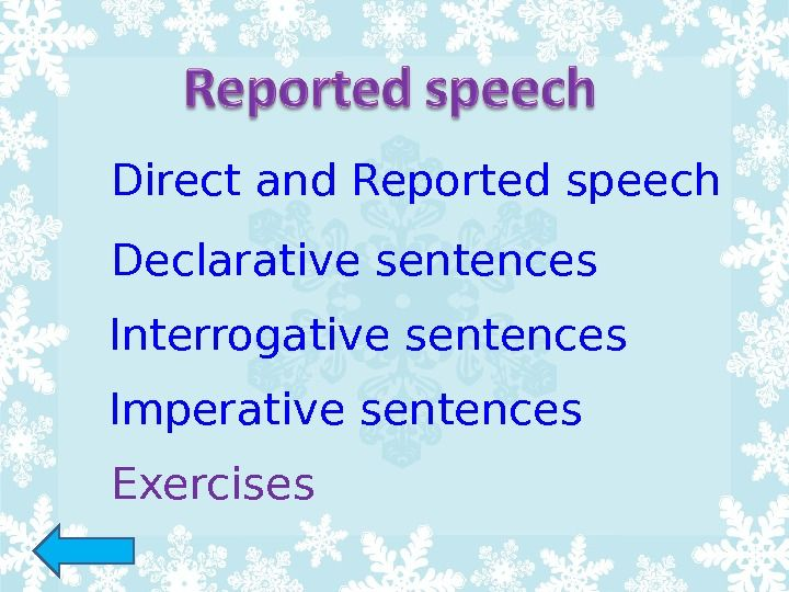 Direct And Reported Speech Declarative Sentences Interrogative