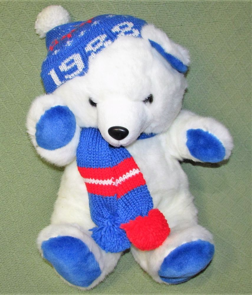 1988 Kmart Teddy Bear Christmas Vtg Holiday FAIRVIEW White BLUE Hat ...