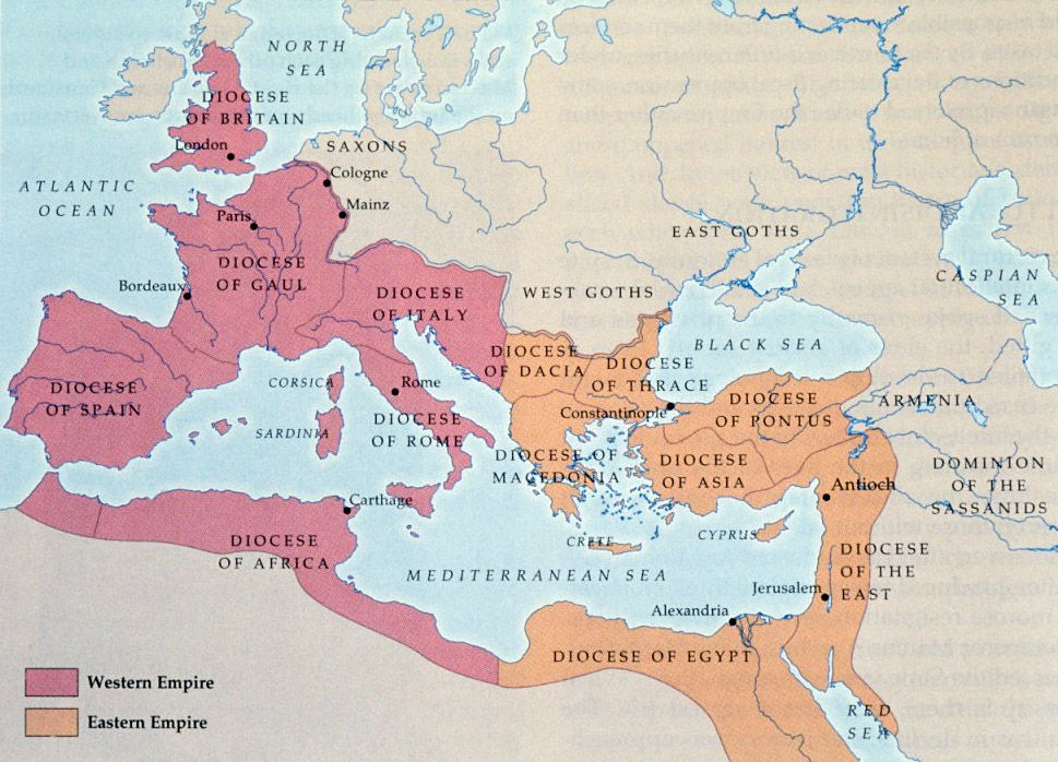 Map The Eastern And Western Roman Empire Click To See Larger - Maps of us and rome