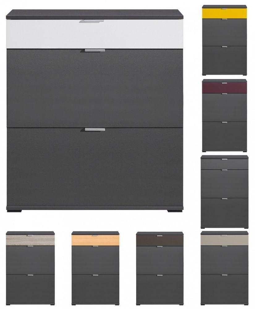 details zu schuhschrank cs schmal colorida 72 cm 2 t ren schublade schuhregal anthrazit neu cs. Black Bedroom Furniture Sets. Home Design Ideas