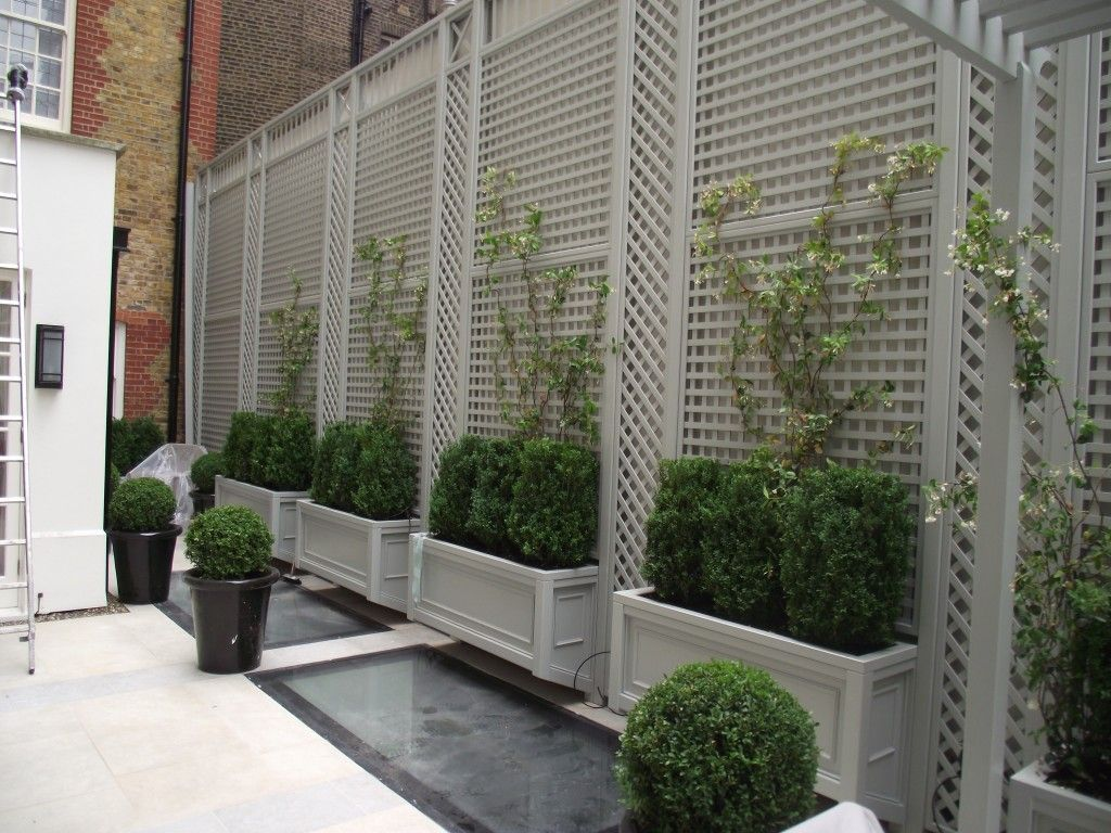 Trellis and planters with a painted finish the garden for Trellis design ideas