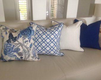 Cojines Lino De Estilo Hamptons, Almohadas Ropa De Diseñador. Cubierta  Solamente. Azul Y Blanco, Aciano Azul, Marfil Dispersión Amortiguador Cubre