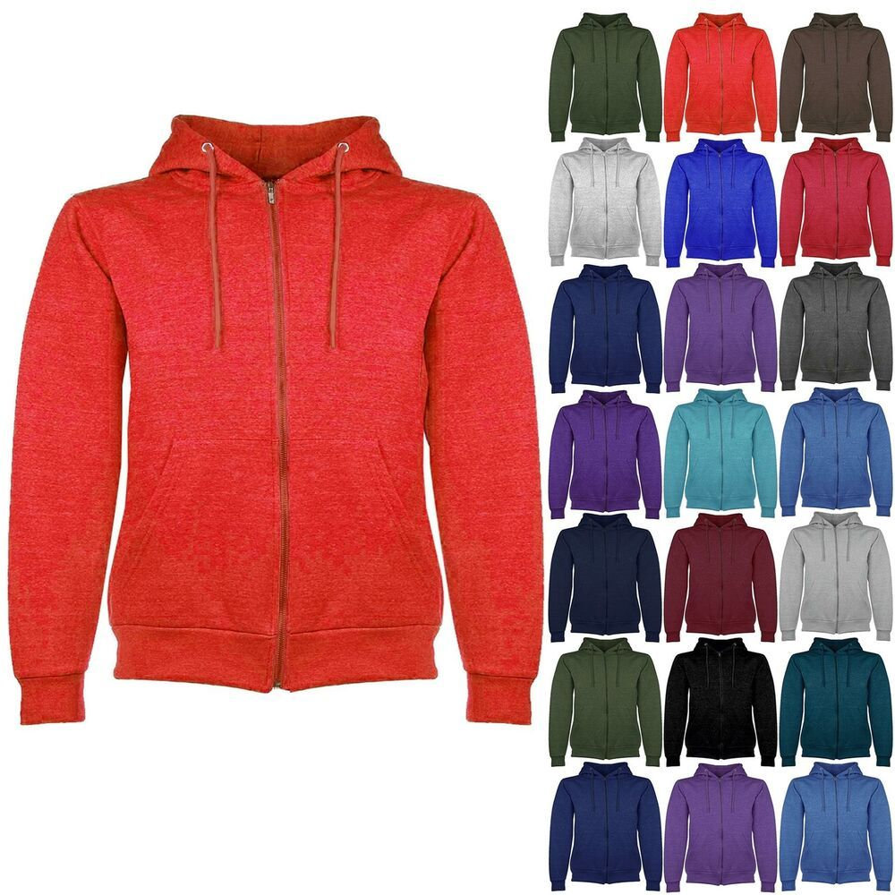 Mens Hoodies Plain American Fleece Zip Hoody Jacket Hooded Top Sweat Shirt S-XL